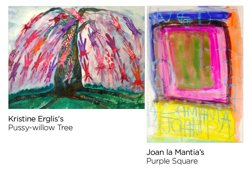 Paintings by Kristine Erglis and Joan la Mantia