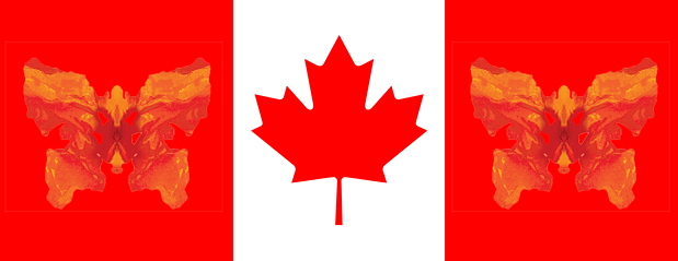 Canada Day Image - Red Maple Leaf in the middle with side red panels with blotter-flys in the red panels