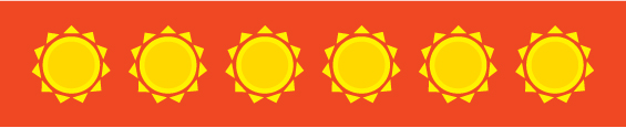 row of identical graphic sun illustrations