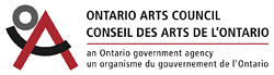 "Ontario Arts Council Logo - Red upside down bold ""V"", curved up black bold line intertwines with the ""V"", a grey bold outlined circle nuzzles into curve of black line and upside down ""V"""