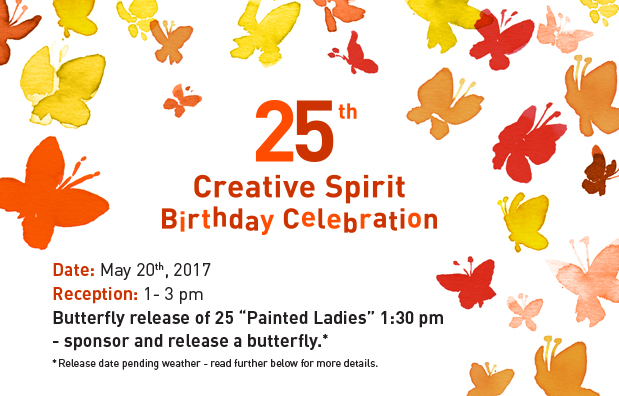 orange, red, yellow watercolour butterfllies flutter released into the sky with the words 24th CSAC Birthday Celebration