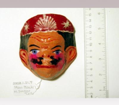 Hanni Sager, Small Mask, Man (pink hat)